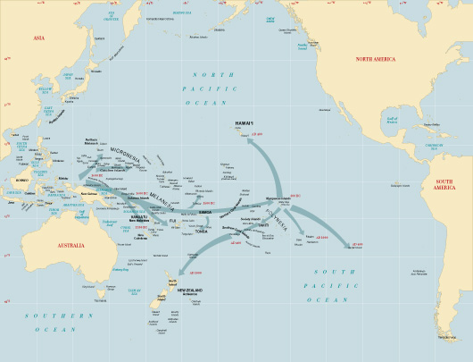 Map of Probable Micronesian, Melanesian and Polynesian migration routes