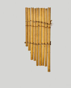 Panpipes made of bamboo and consists of nine single pipes varied in length bound together with three wrappings of coconut fibre.