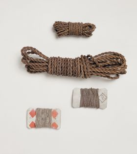 Cords made of grass, fibres of the coconut, and other plants; a kind of flax, and various other materials.