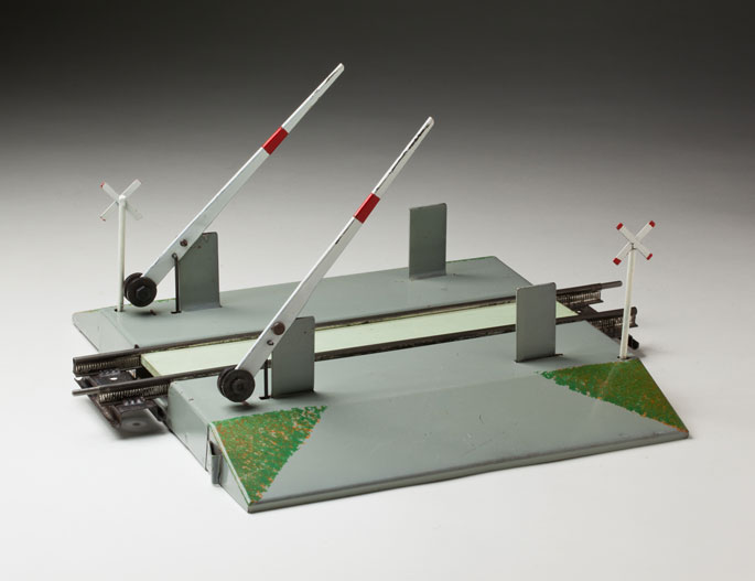 Mechanical level crossing, made from sheet metal and wood by Bill Munro and company