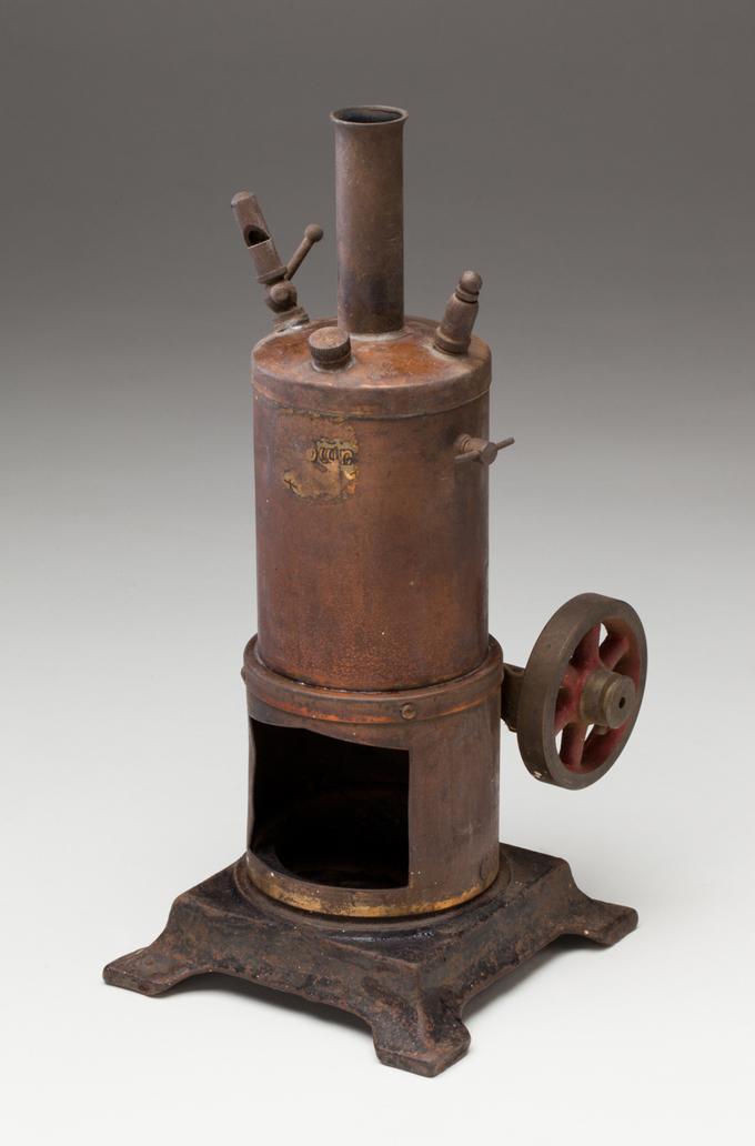 Vertical steam donkey engine, made from war surplus 57 mm brass shell case by by Leonard John Pugh