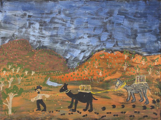 An acrylic painting on canvas showing a person leading two camels through a hilly landscape. - click to view larger image