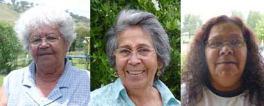 Photo portraits from left to right of Aunty Margaret Berg, Aunty Soni Piper and Aunty Tammy Tidmarsh.