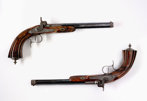Major Sir Thomas Mitchell's duelling pistols used in 1851.