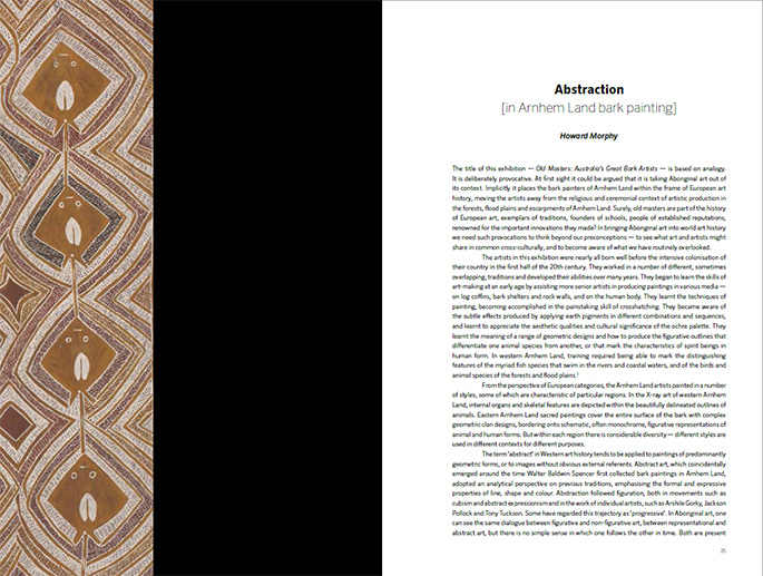 Page spread from the Old Masters publication featuring 'The shapes of things' essay by Wally Caruana.