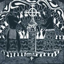 A linocut imprinted with black pigment on cream coloured paper. The artwork features a cross in the centre with a man standing on either side, one holding a bow and arrow, and one holding a book, surrounded by figures with their hands in the air.