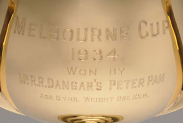 Detail showing inscription on front of a gold cup.