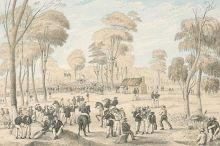 Illustration of a large group of men gathered in the foreground. Several ride horses and others carry or sit near tools. In the distance a much larger group of people has amassed under a flag.