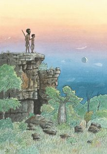 Colour illustration showing a young Aboriginal boy standing on a cliff, with an Aboriginal man standing beside him.