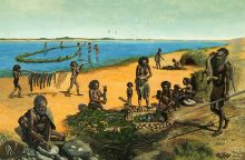 Colour illustration showing a group of Aboriginal people beside a lake. A man in the foreground sits at a grinding stone. Women prepare fish and other food and another man returns from hunting with a kangaroo-like carcass across his shoulder. Two children carry fish on a pole and in the distance, a group of people stand ankle-deep in the lake, fishing.