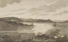 Black and white drawing of a harbour with two sailing ships in the distance and a group of men gathered on a headland in the foreground.