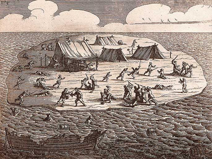 Etching showing islet with four tents on it surrounded by people fighting or running or lying dead. In the foreground, just offshore, is the wreck of a ship