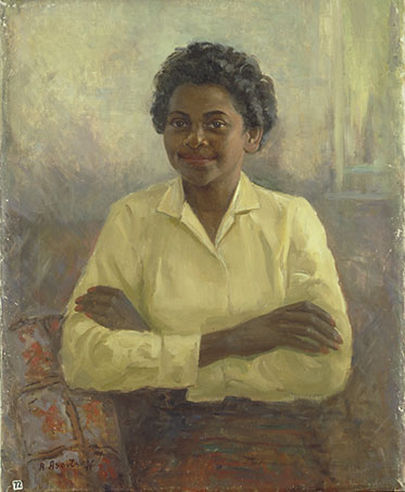 Painting of Faith Bandler sitting on a sofa with arms crossed