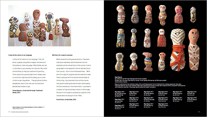 A sample page from the Encounters book about objects in the exhibition from the Rockingham Bay, Queensland.