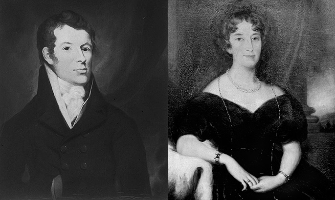 Posthumous paintings of Captain John Macarthur and Elizabeth Macarthur, about 1850