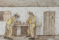 two men in yellow outfits stand writing at a table immediately outside a cottage