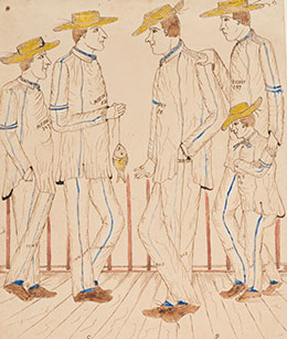 Illustration of four genteel men and a child in convict outfits, or small man, posing