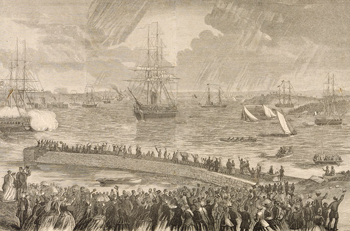 etching of harbour scene in which a tall ship is prominent. Crowds line the foreshore