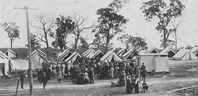 Influenza quarantine camp set up at Wallangarra 1919