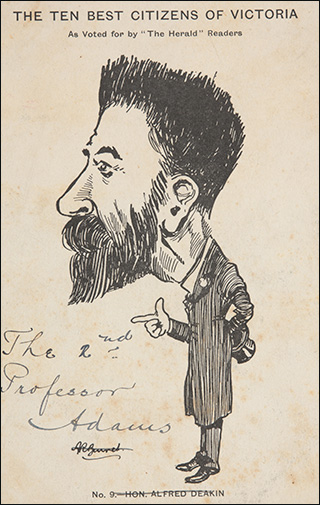 A postcard featuring a black and white cartoon depiction of a bearded man.