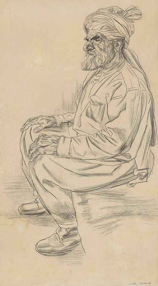 A sketch of an old man wearing a turban - click to view larger image