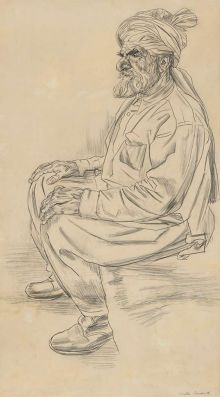 A sketch of an old man wearing a turban