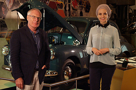 Bruce Scates and Susan Carland with a 1946 Holden Prototype No. 1.