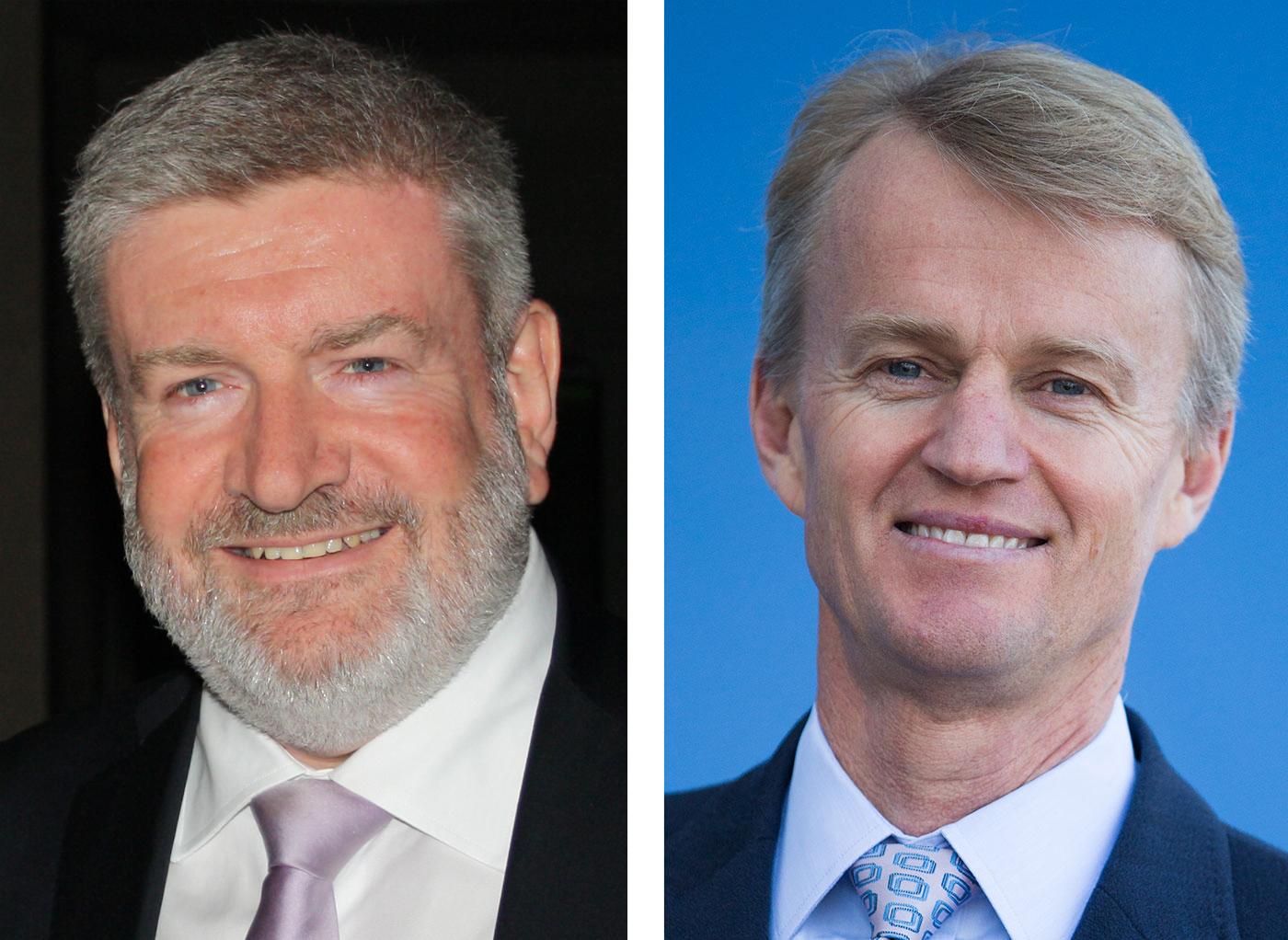 Portraits of Senator the Hon Mitch Fifield (left) and Mr David Jones