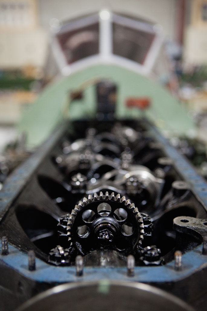 Close up of the drive wheel at the front of the crankcase. - click to view larger image