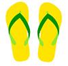 Graphic showing a green and gold pair of thongs