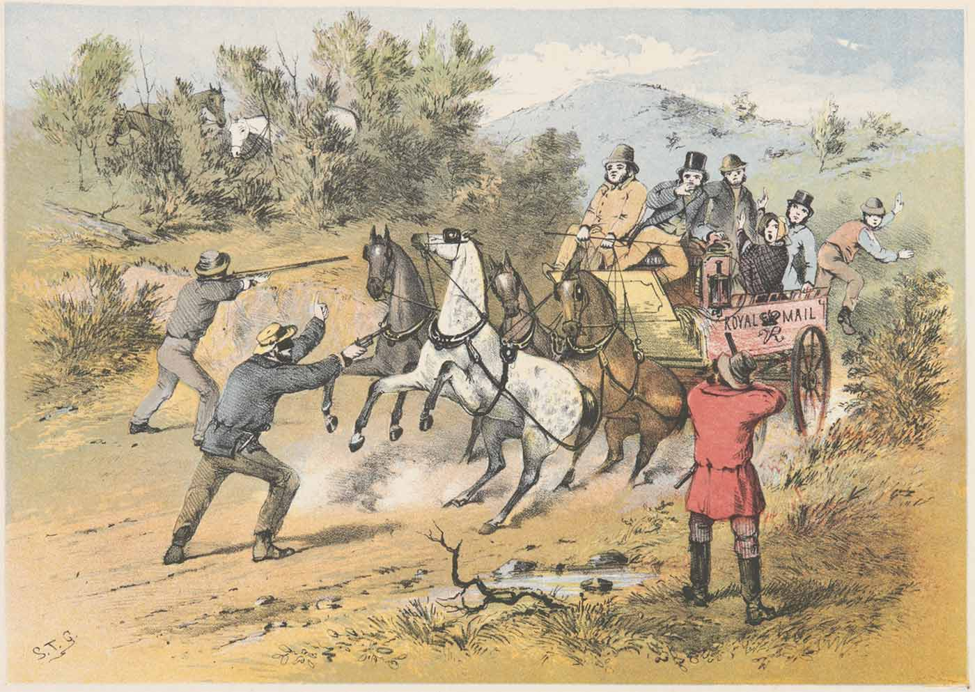 Watercolour painting of a group of bandits brandishing guns at a horse-drawn carriage with 'ROYAL MAIL' on its side and carrying a group of people. - click to view larger image