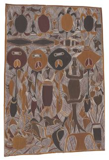An Indigenous bark painting illustrating a fight between Crocodile-Man and Stingray-Man