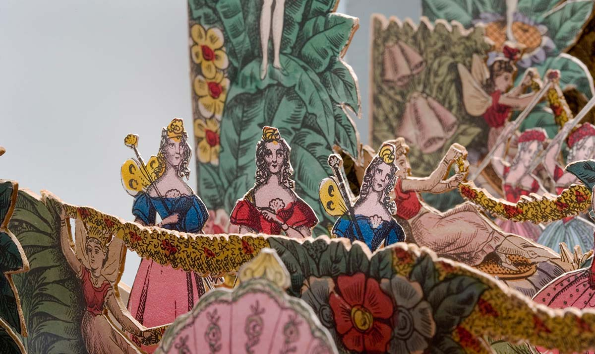 Detail of ladies used as puppets in the toy theatre - click to view larger image