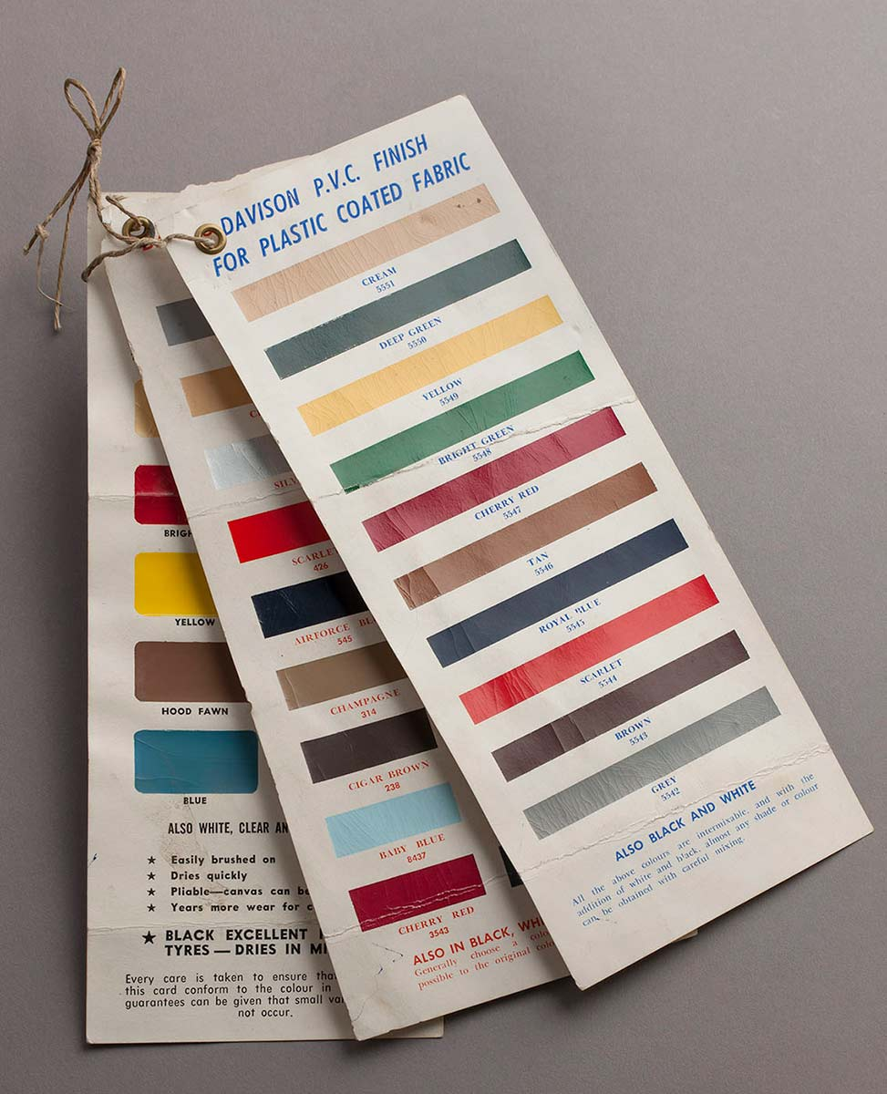 Colour swatches used at Quail's Saddlery, before 1972 - click to view larger image