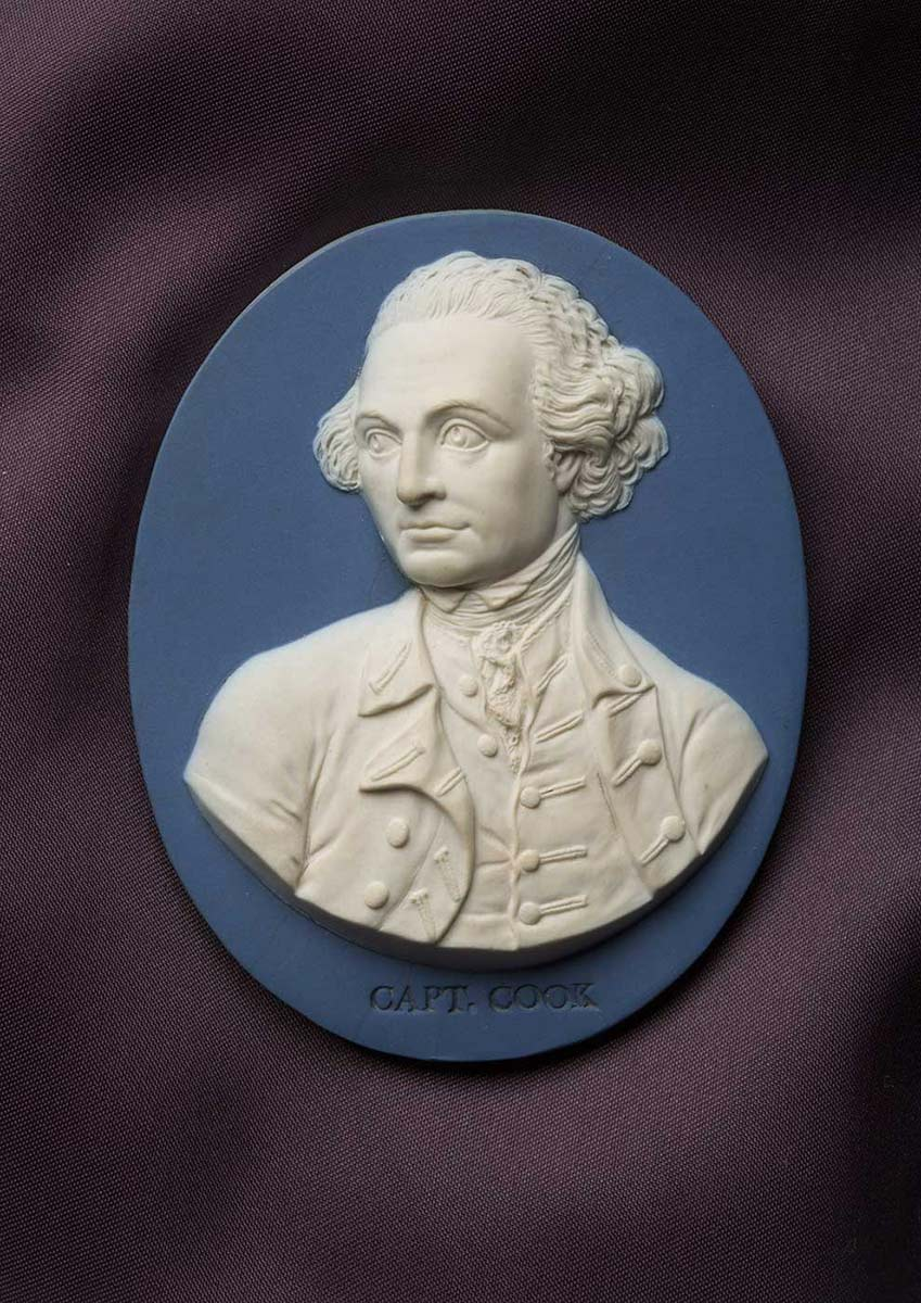 Cameo-style engraving in relief showing a man's portrait with 'Capt Cook' inscribed in print at the base. - click to view larger image