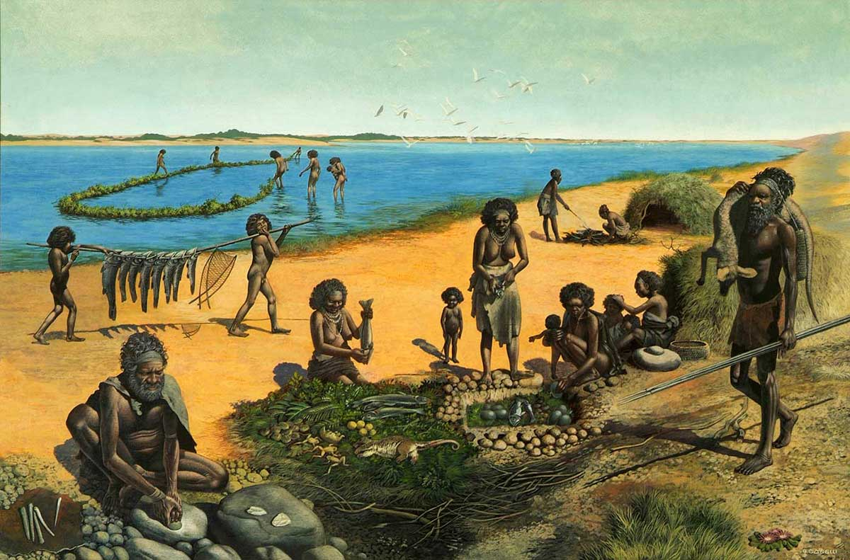 Colour illustration showing a group of Aboriginal people beside a lake. A man in the foreground sits at a grinding stone. Women prepare fish and other food and another man returns from hunting with a kangaroo-like carcass across his shoulder. Two children carry fish on a pole and in the distance, a group of people stand ankle-deep in the lake, fishing. - click to view larger image