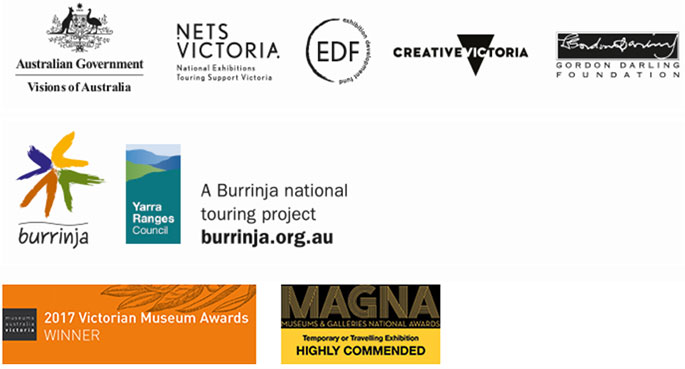 Logos for Visions of Australia, National Exhibitions Touring Support Victoria, Exhibition Development Fund, Creative Victoria, Gordon Darling Foundation, Burrinja, Yarra Ranges Council.