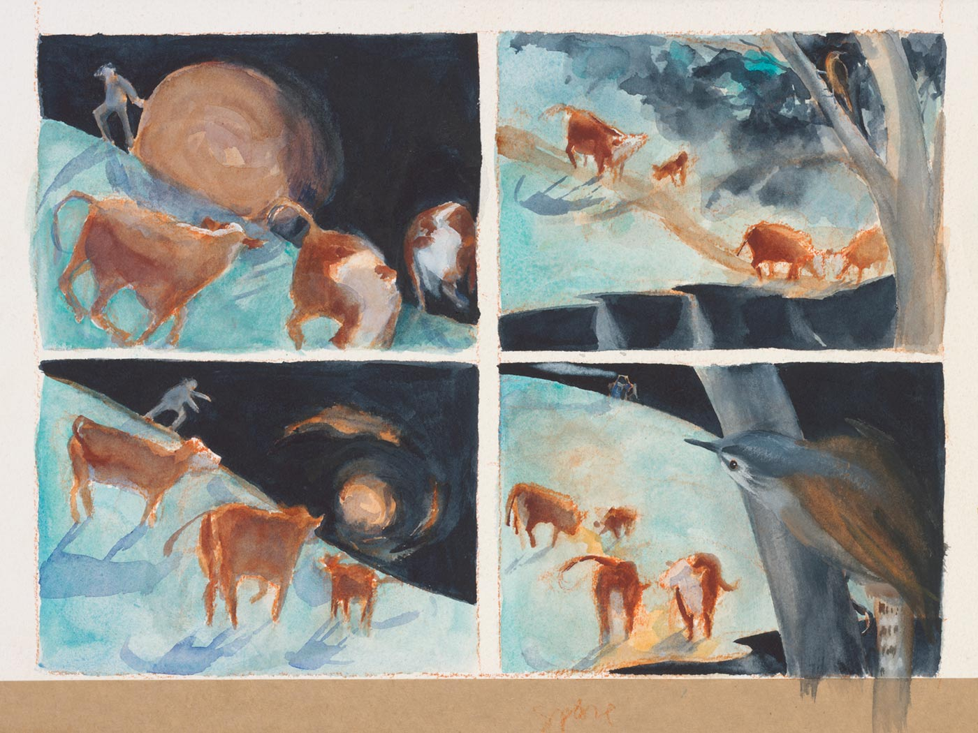 A watercolour paint depicting farm animals. - click to view larger image
