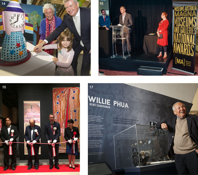 Four images (clockwise from top left): two adults and a child cutting a cake shaped like a rocket; a group of three people on stage in front of a banner that reads 'Museums Australia MAGNA'; a man leans on a display case containing cameras in front of a panel which reads 'Willie Phua'; four people stand poised to cut a ribbon, in front of a large Aboriginal artwork.