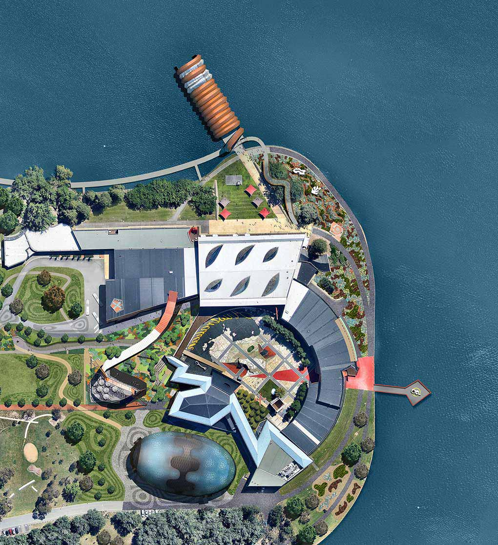 An architect's impression of the National Museum of Australian on Acton Peninsula. - click to view larger image