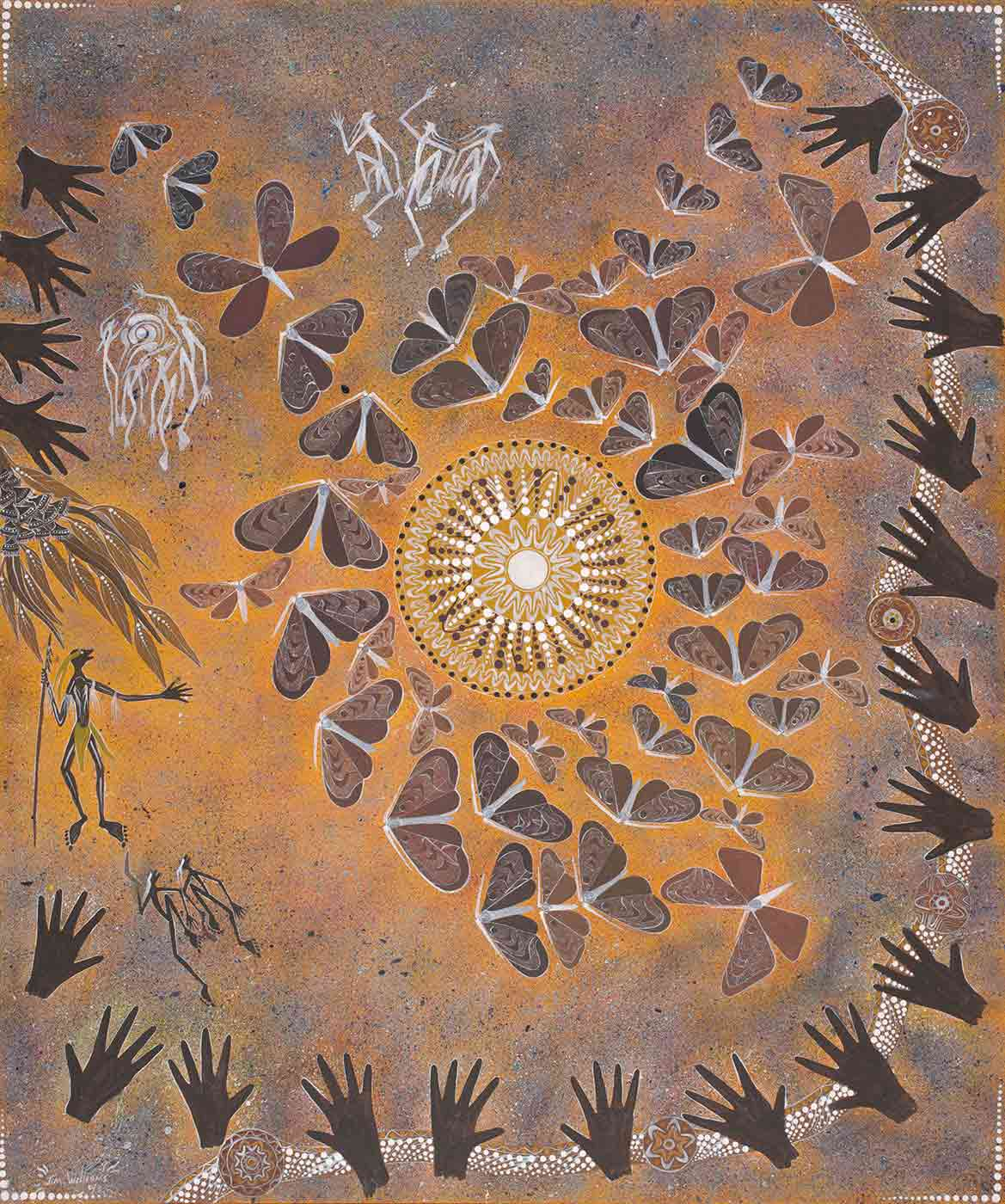 A painting featuring a central circular dotted shape, surrounded by brown bogong moths. Many hands are painted as well as three figures in black and seven white figures are painted at the upper left corner and centre top. - click to view larger image