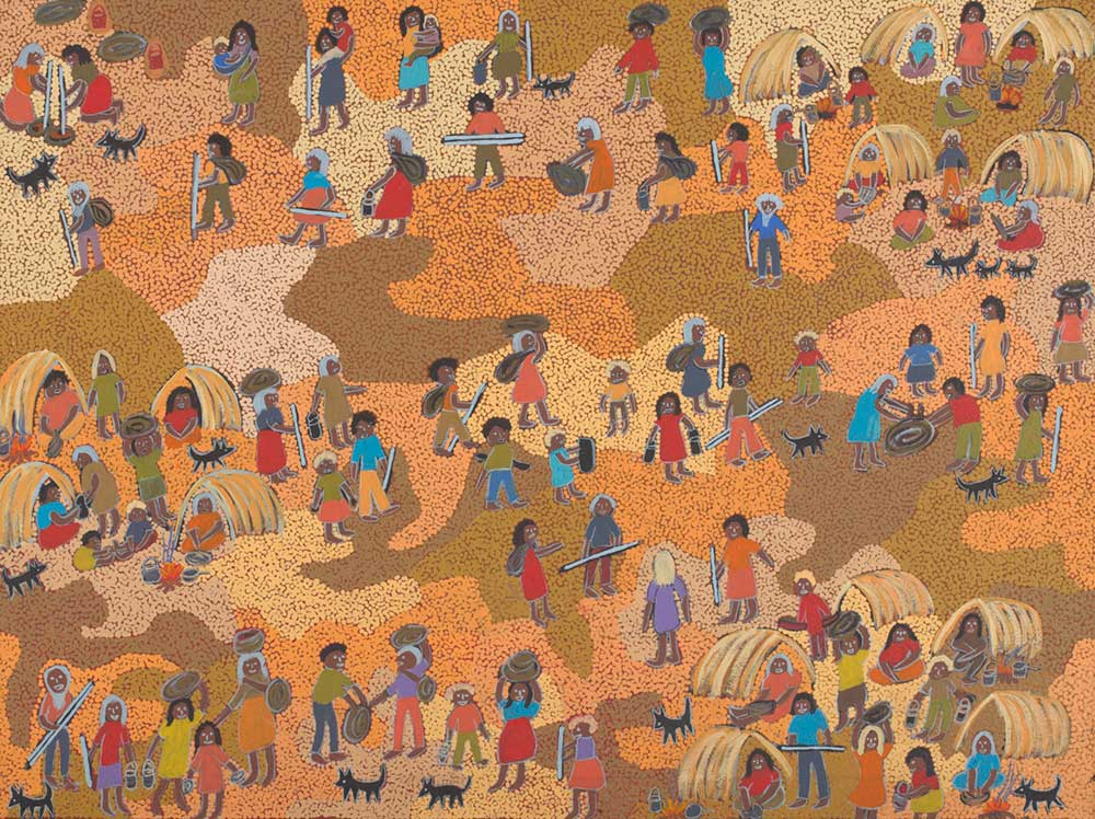 An acrylic painting on canvas showing many people, some carrying objects and some seated in shelters, and several dogs against a multi-coloured dot infill background. - click to view larger image