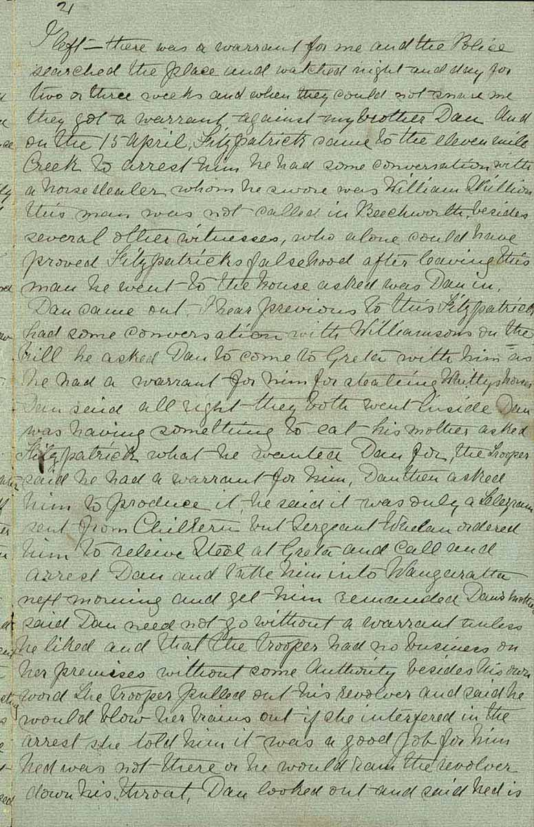 Page twenty one of Ned Kelly's Jerilderie letter. - click to view larger image