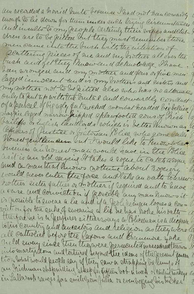 Page thirty of Ned Kelly's Jerilderie letter. - click to view larger image
