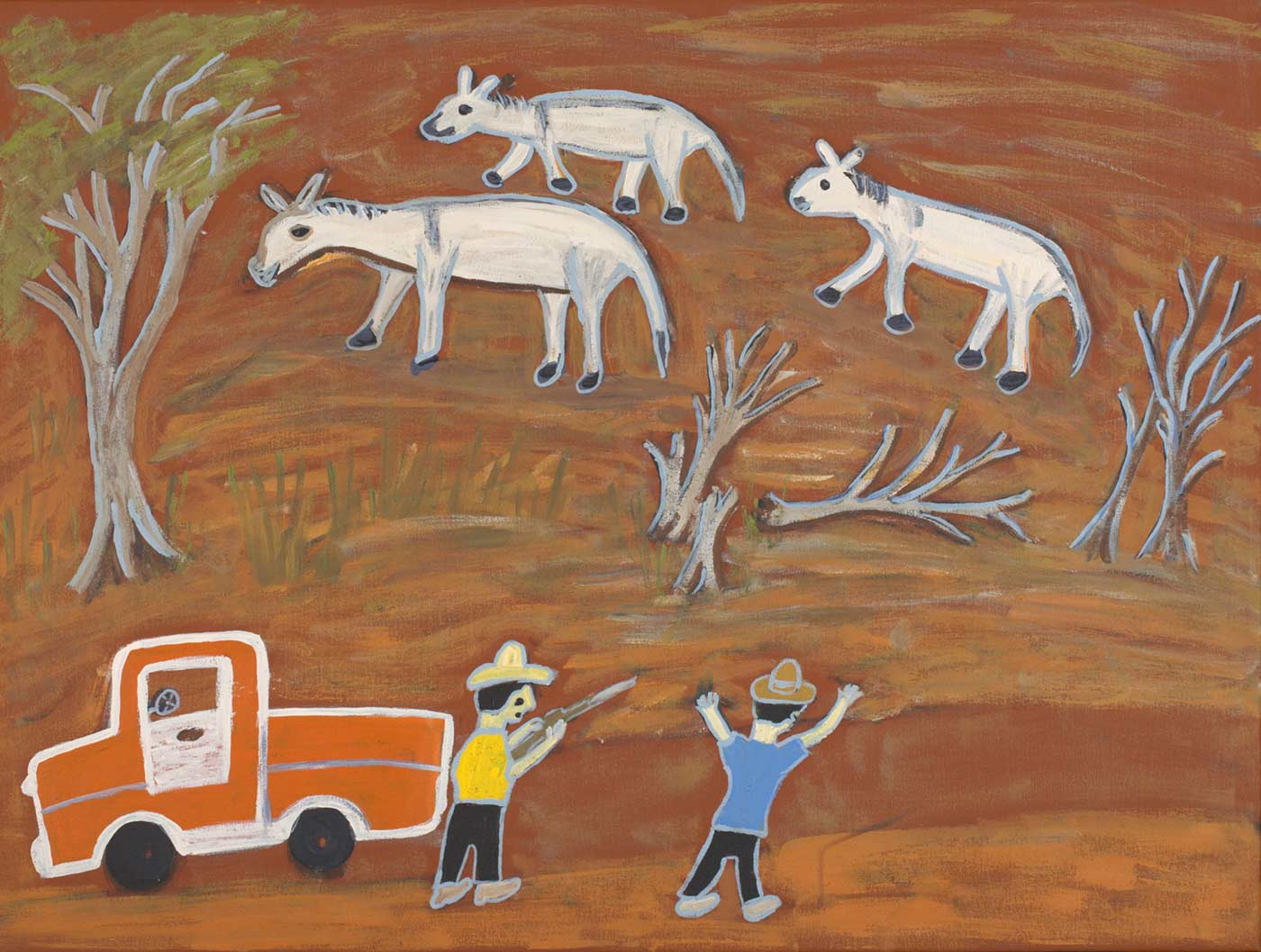 An acrylic painting on canvas showing two people, three donkeys and a vehicle. One of the people is aiming a firearm at the donkeys. - click to view larger image