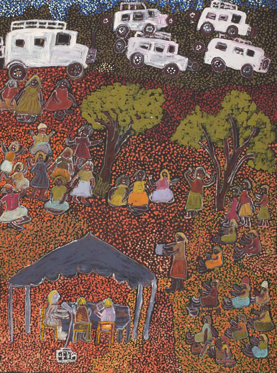 An acrylic painting on canvas showing three people sitting under a structure, with more people seated and standing around them. The background is made up of yellow, orange and brown dot infill. - click to view larger image