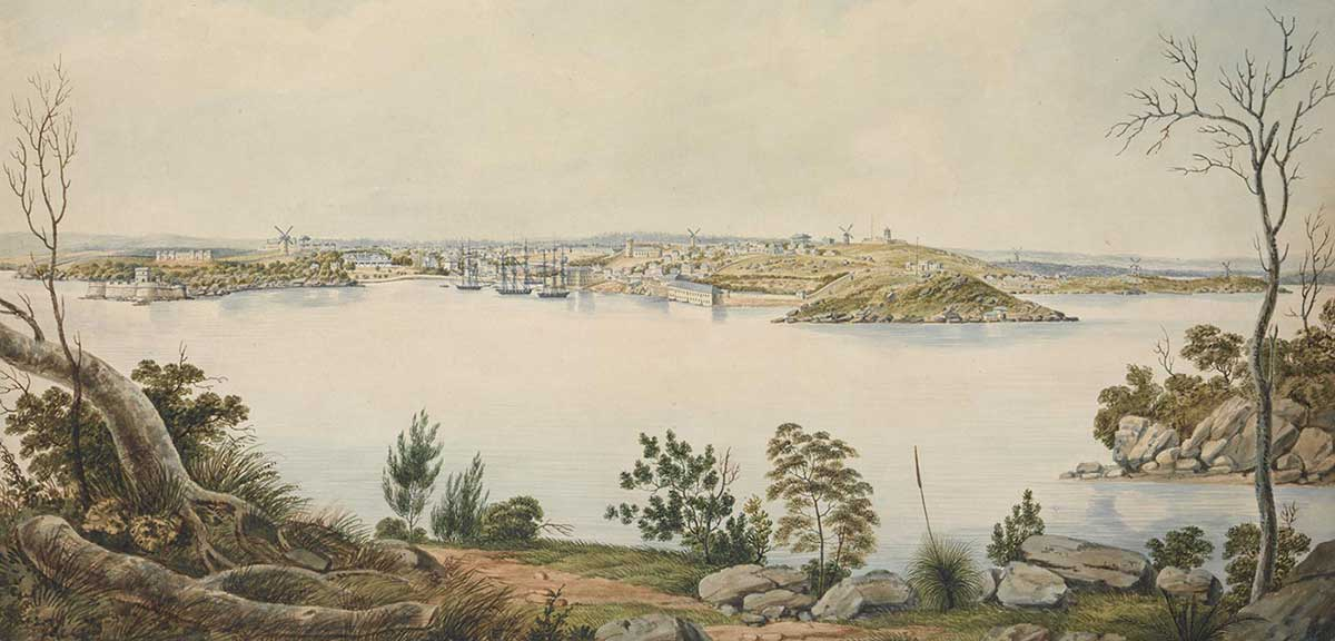landscape painting of Sydney, New South Wales by Joseph Lycett