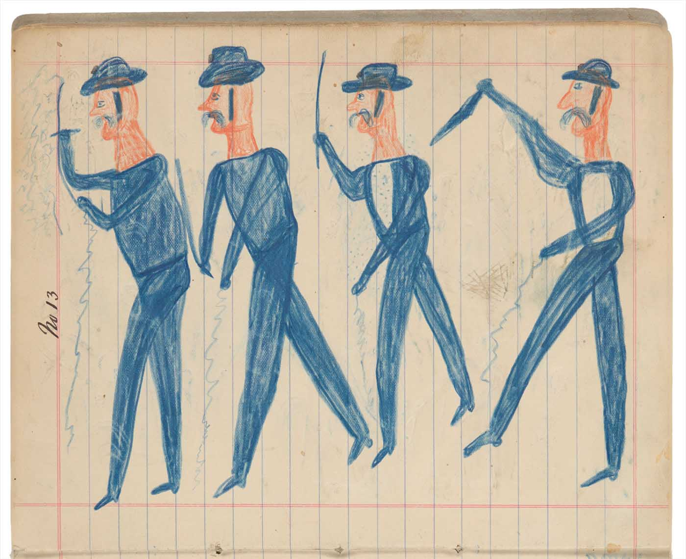 Sketchbook drawings of four blue figures wearing hats and holding weapons - click to view larger image