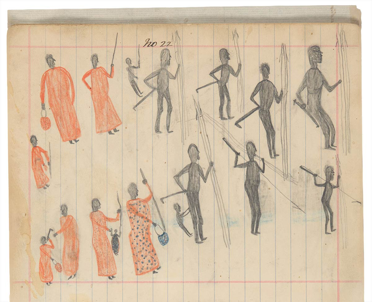 Sketchbook drawing of multiple figures, half in grey, the other half in ankle-length orange robes - click to view larger image