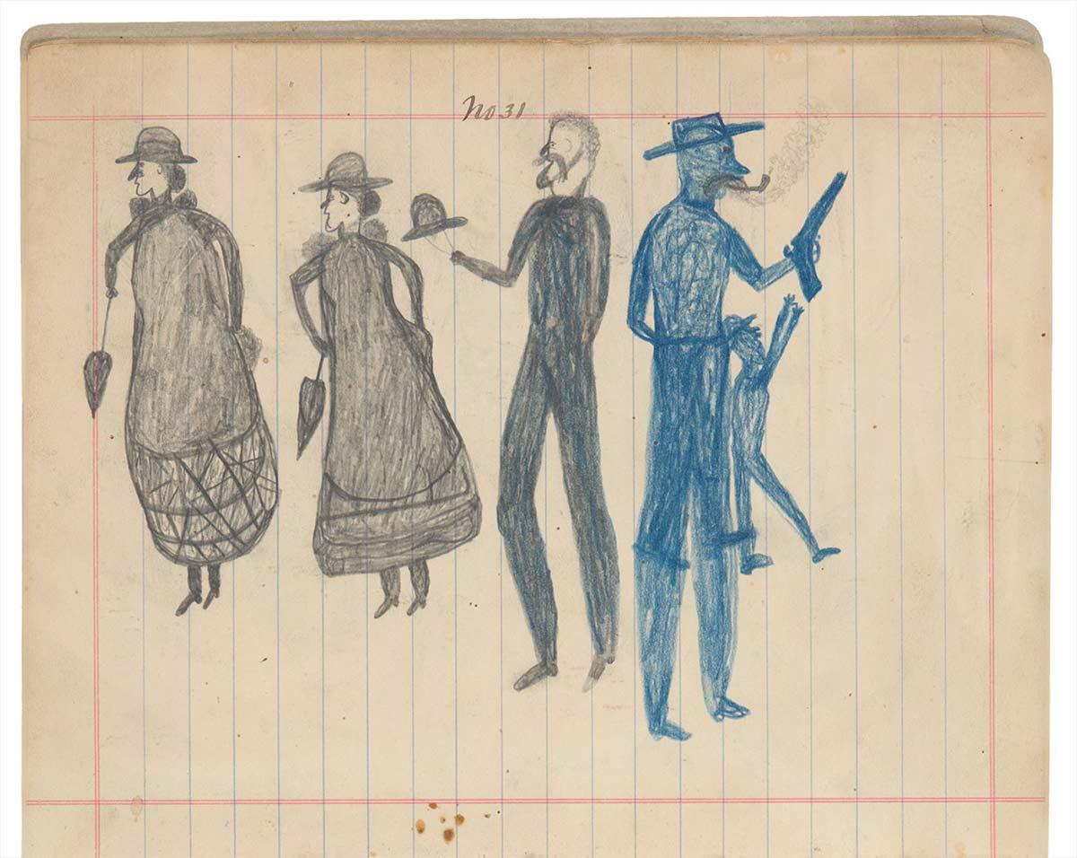 Sketchbook drawing of two women with hats and parasols, and three men, two drawn in blue, one of whom is holding a gun - click to view larger image